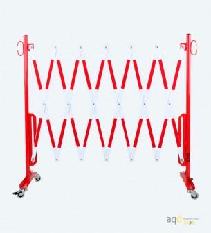 70-20R: Barrera extensible con ruedas, de 3,6 m, color rojo/blanco