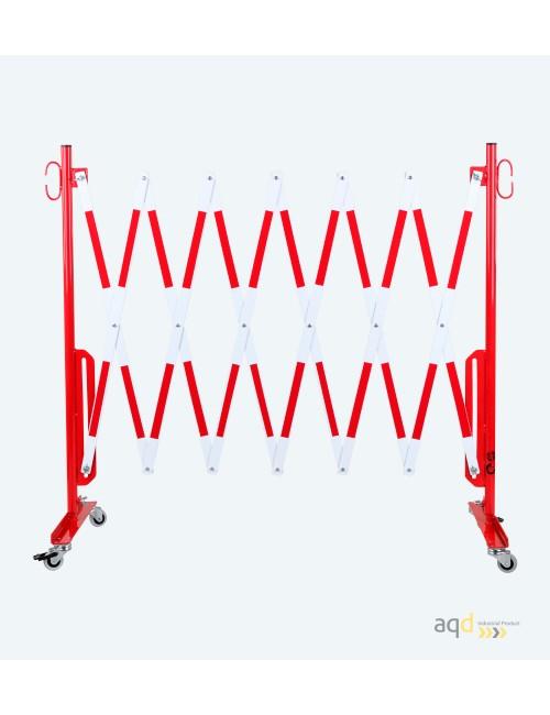 Barrera extensible con ruedas, de 3,6 m, color rojo-blanco