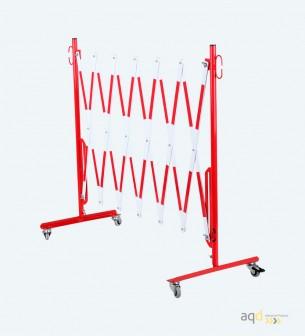 Barrera extensible con ruedas, de 3,6 m, color rojo-blanco - Barrera extensible con ruedas,