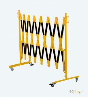 Barrera extensible con ruedas de 4 m, color amarillo/negro - Barrera extensible con ruedas,
