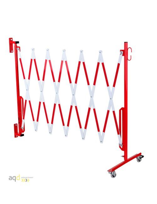 Barrera extensible con ruedas y fijación a pared, rojo-blanco, long. 3,6 m