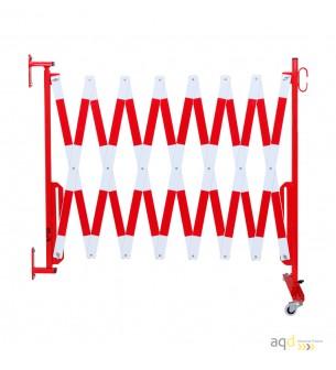 Barrera extensible con ruedas y fijación a la pared, rojo/blanco, long. 4 m - Barrera extensible con ruedas y fijación a pared,