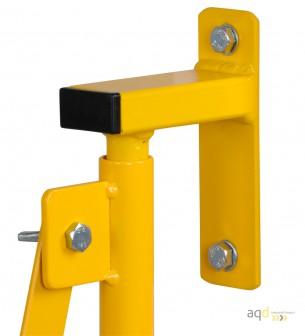 Barrera extensible con ruedas y fijación a la pared, amarillo/negro, long. 4 m - Barrera extensible con ruedas y fijación a p...