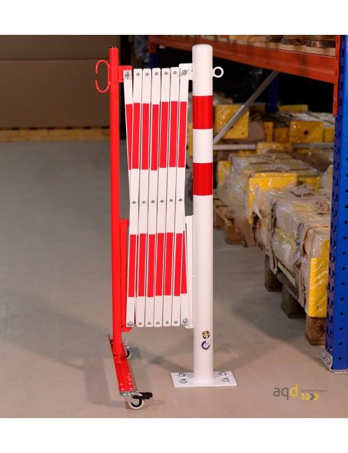 Barrera extensible con ruedas y poste redondo, rojo-blanco, long. 3,6 m