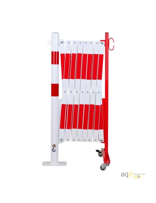 Barrera extensible con ruedas y poste redondo, rojo-blanco, long. 4 m