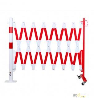 Barrera extensible con ruedas y poste redondo, rojo-blanco, long. 4 m - Barrera extensible con ruedas y poste cilíndrico/rect...