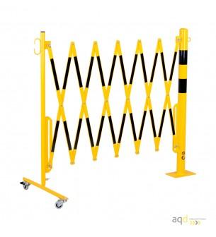 Barrera extensible con ruedas y poste redondo, amarillo-negro, long. 3,6 m - Barrera extensible con ruedas y poste cilíndrico...