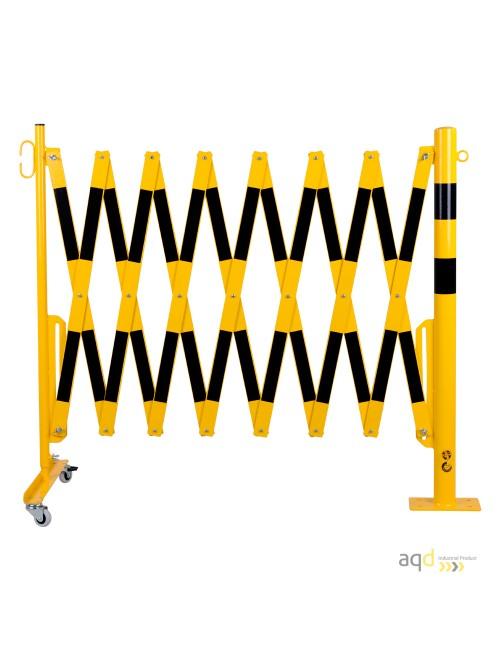 Barrera extensible con ruedas y poste redondo, amarillo-negro, long. 4 m