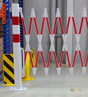70-95: Barrera extensible con ruedas y poste rectangular, rojo/blanco, long. 3,6 m