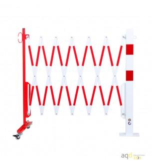 Barrera extensible con ruedas y poste rectangular, rojo-blanco, long. 4 m - Barrera extensible con ruedas y poste cilíndrico/...