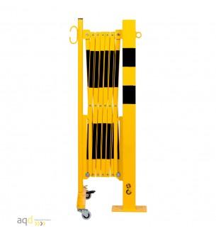 Barrera extensible con ruedas y poste rectangular, amarillo-negro, long. 3,6 m - Barrera extensible con ruedas y poste cilínd...