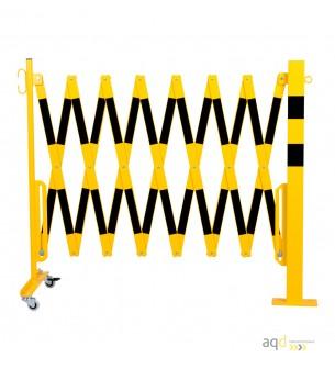 Barrera extensible con ruedas y poste rectangular, amarillo-negro, long. 4 m - Barrera extensible con ruedas y poste cilíndri...
