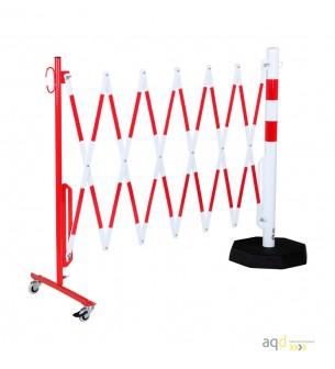 Barrera extensible con ruedas y plato pesado, rojo-blanco, long. 3,6 m - Barrera extensible con ruedas y plato pesado,