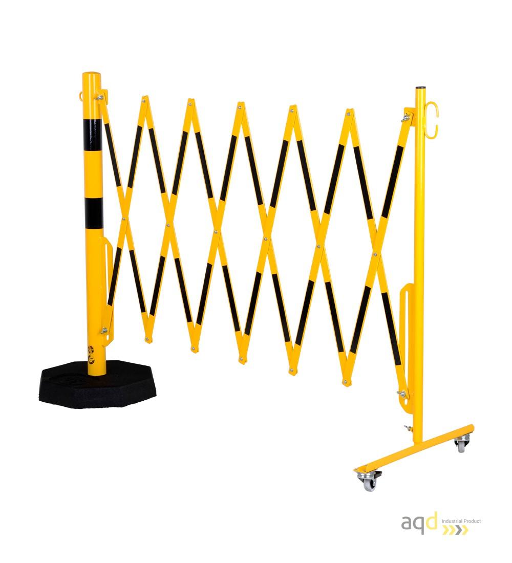 Barrera extensible con ruedas y plato pesado, amarillo-negro, long. 3,6 m - Barrera extensible con ruedas y plato pesado,