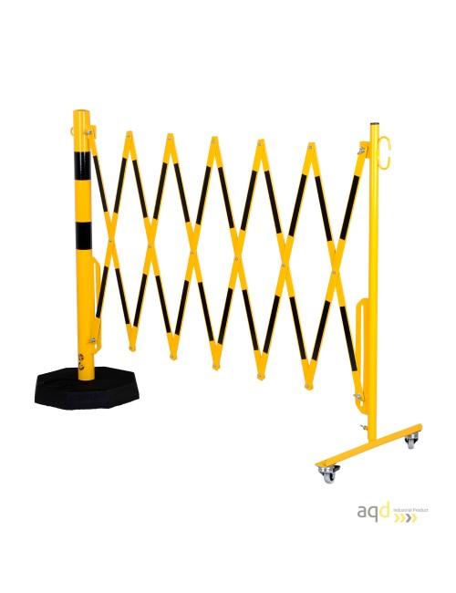 Barrera extensible con ruedas y plato pesado, amarillo-negro, long. 3,6 m
