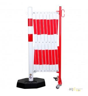 Barrera extensible con ruedas y plato pesado, rojo-blanco, long. 4 m - Barrera extensible con ruedas y plato pesado,