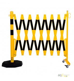 70-90: Barrera extensible con ruedas y plato pesado, amarillo/negro, long. 4 m