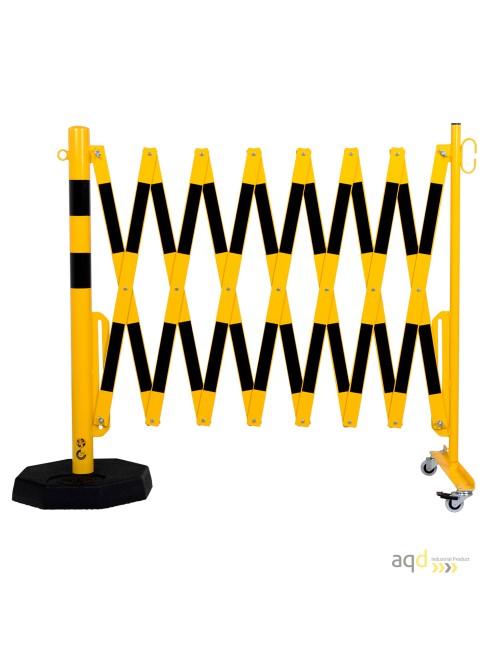 Barrera extensible con ruedas y plato pesado, amarillo-negro, long. 4 m