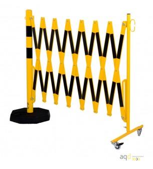 Barrera extensible con ruedas y plato pesado, amarillo-negro, long. 4 m - Barrera extensible con ruedas y plato pesado,