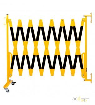 Barrera extensible con ruedas y fijación a la pared, amarillo/negro, long. 4 m