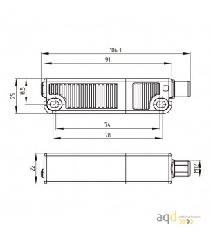 Schmersal Sensor electrónico de seguridad RSS 36-D-ST - Schmersal Sensor y actuador de seguridad RSS 36 - RST 36