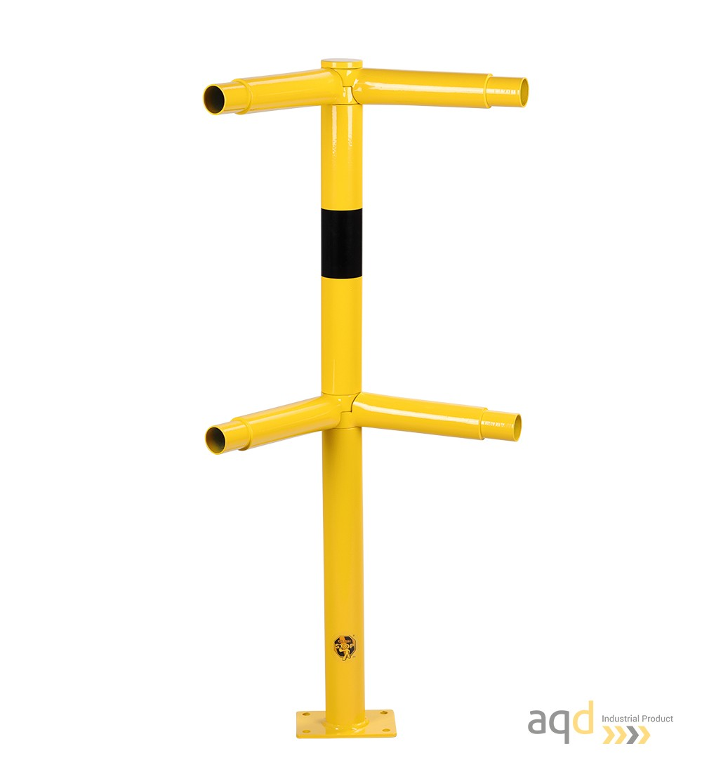 Poste esquinero modular, 1000 mm (alt.), 250-500 mm (anch.) para barandilla de seguridad modular de acero - Barandilla de seg...