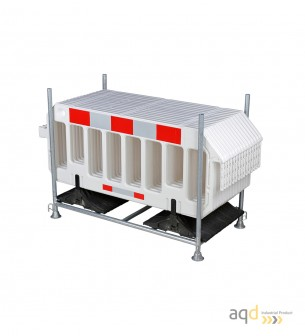 Set de vallas plásticas blancas con estante de almacenamiento y transporte - Balizamiento y señalización,