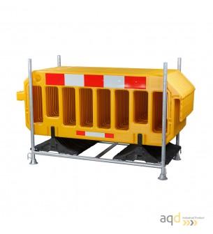 Set de vallas plásticas amarillas con estante de almacenamiento y transporte - Balizamiento y señalización,