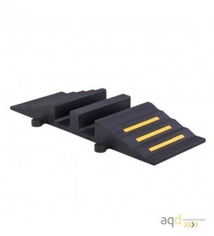 Rampa negra protectora cables y mangueras con 2 canaletas (90 x 75 mm) sin tapa 300 mm (anch.) - Rampa protectora cables y ma...