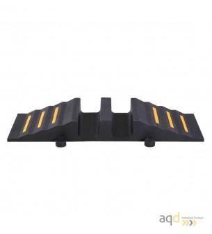 Rampa negra para mangueras con 2 canaletas sin tapa, 300 mm (anch.) - Rampa para mangueras con 2 canaletas sin tapa
