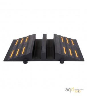 Rampa negra protectora cables y mangueras con 2 canaletas (90 x 75 mm) sin tapa, 680 mm (anch.) - Rampa protectora cables y m...