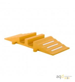 Rampa amarilla protectora cables y mangueras con 2 canaletas (90 x 75 mm) sin tapa 300 mm (anch.) - Rampa protectora cables y...