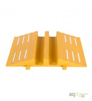 Rampa amarilla protectora cables y mangueras con 2 canaletas (90 x 75 mm) sin tapa, 680 mm (anch.) - Rampa protectora cables ...