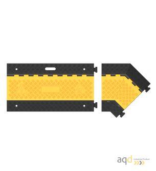 Protector pasacables para suelo con tapa, 3 canaletas, 45º izq, 500 mm (long.) - Protector pasacables para suelo con tapa y 2...