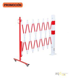 Barrera extensible con ruedas y poste rectangular, rojo-blanco, long. 3,6 m - Barrera extensible con ruedas y poste cilíndric...