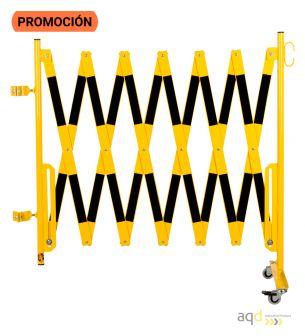 Barrera extensible con ruedas y poste redondo, amarillo-negro, long. 4 m - Barrera extensible con ruedas y poste cilíndrico/r...