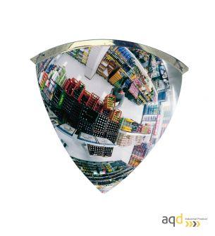 Espejo de cuarto de esfera, visión 90 grados y 10-15 m - Espejo de media esfera, visión 90 grados