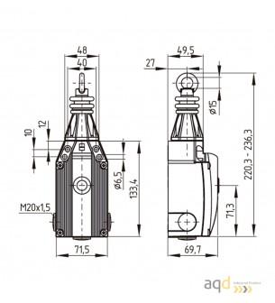 Schmersal Interruptor por tracción de cable ZQ 900-02 - Bimanuales, pedales y mandos de seguridad