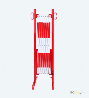 Barrera extensible con pie de 3,6 m, color rojo-blanco - Barrera extensible con pie,