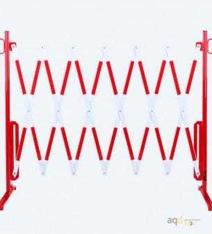 Barrera extensible con pie de 3,6 m, color rojo-blanco - Barrera extensible con pie,