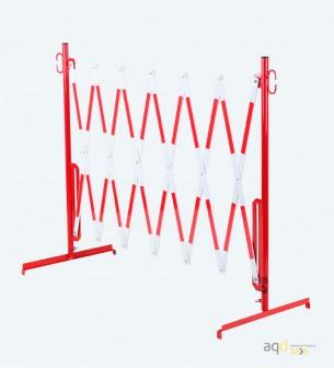 70-10: Barrera extensible con pie, en rojo/blanco. 3,6 m