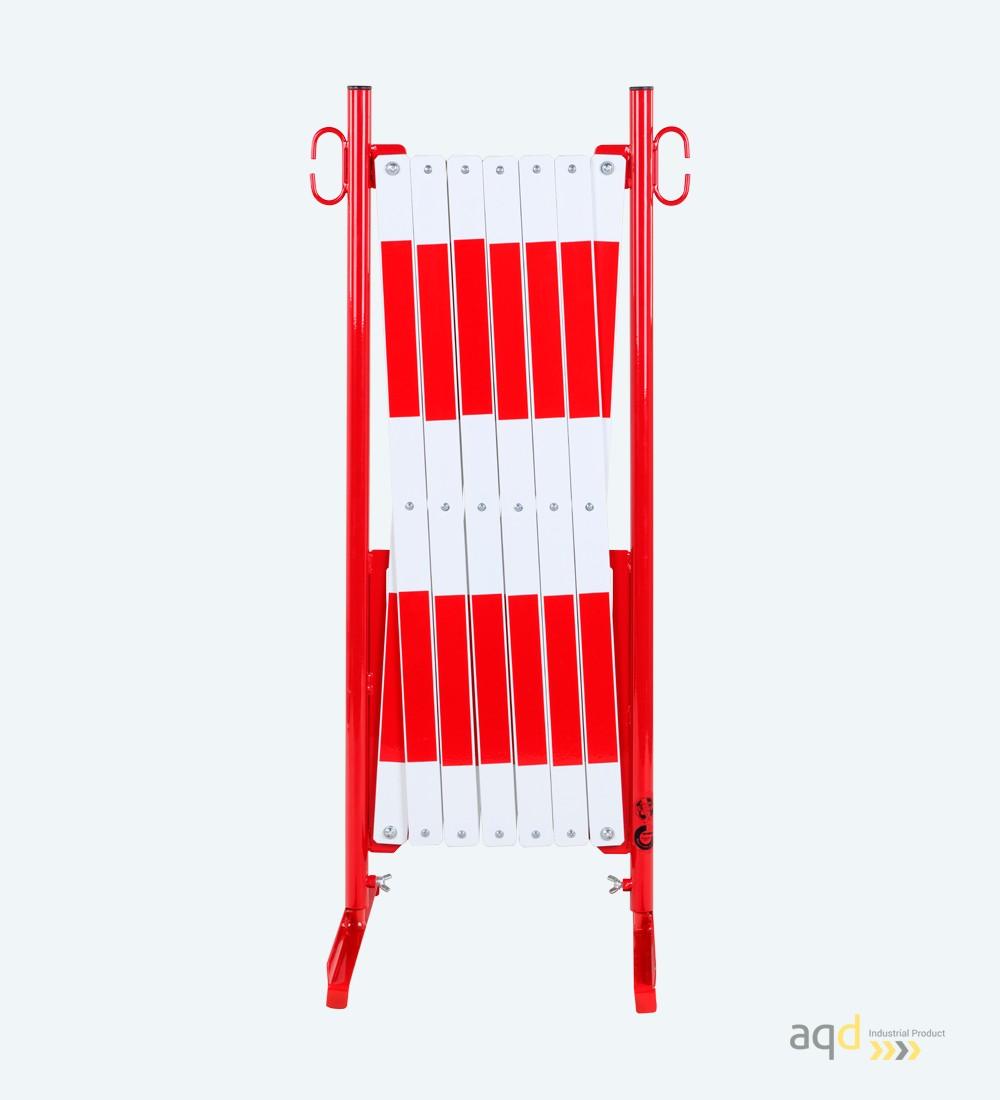 Barrera extensible con pie de 4 m, color rojo-blanco - Barrera extensible con pie,