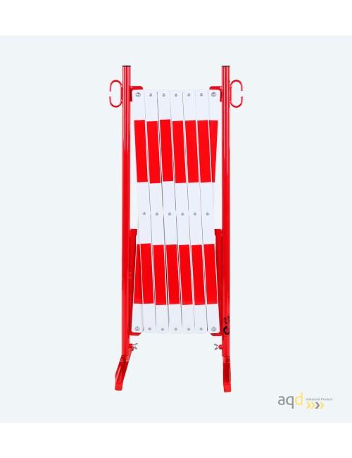 Barrera extensible con pie de 4 m, color rojo-blanco