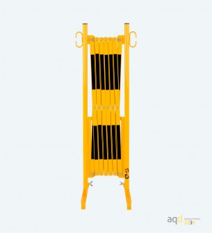 Barrera extensible con pie de 3,6 m, color amarillo-negro - Barrera extensible con pie,