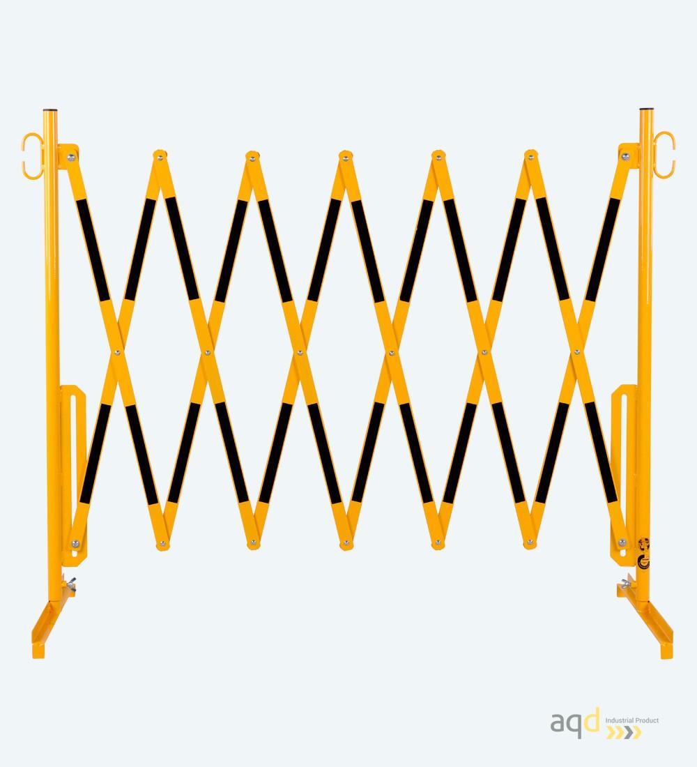 Barrera extensible con pie de 3,6 m, color amarillo-negro - Barrera extensible con pie,