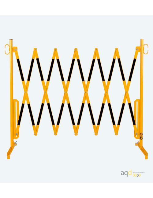 Barrera extensible con pie de 3,6 m, color amarillo-negro
