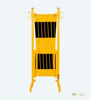 Barrera extensible con pie de 4 m, color amarillo-negro - Barrera extensible con pie,