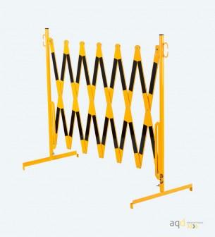Barrera extensible con pie de 4 m, color amarillo-negro