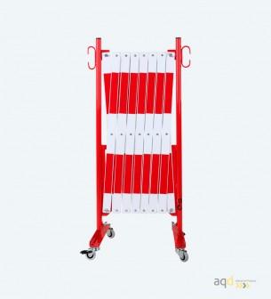 Barrera extensible con ruedas, de 4 m, color rojo-blanco - Barrera extensible con ruedas,