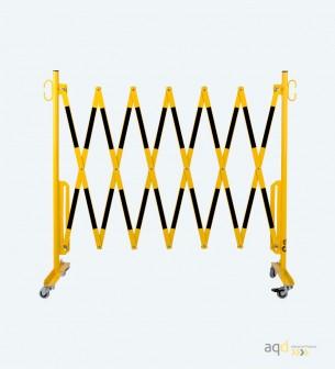 Barrera extensible con ruedas de 3,6 m, color amarillo-negro - Barrera extensible con ruedas,